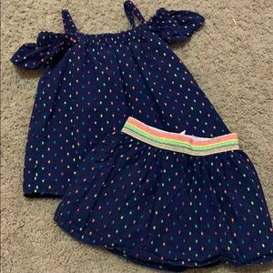 Navy polka dot skirt and cold shoulder outfit